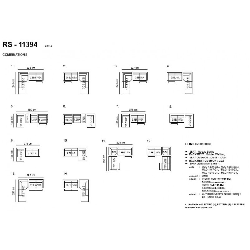 Vespasian Modular STATIC 2.5 SEATER FABRIC