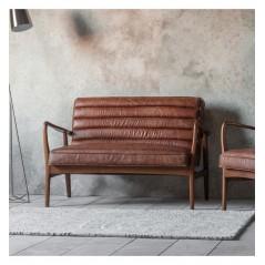 GA Datsun 2 Seater Sofa Vintage Brown Leather