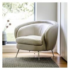 GA Tesoro Tub Chair Cream Leather