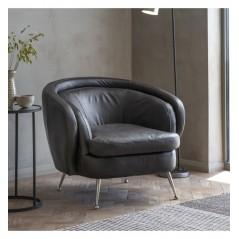 GA Tesoro Tub Chair Black Leather
