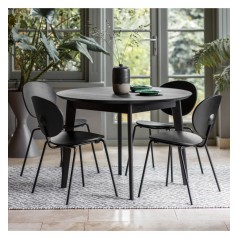 GA Forden Round Dining Table Black