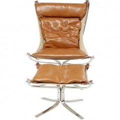 Armchair with Stool Washington Brown