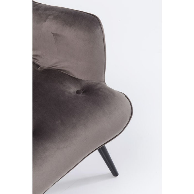 Armchair Black Vicky Velvet Grey