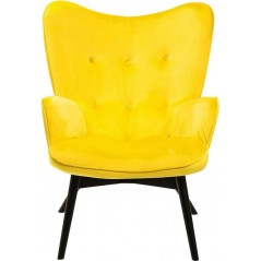 Armchair Black Vicky Velvet Yellow