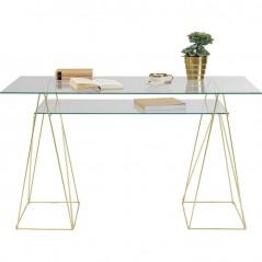 Table Polar Brass Matt 8mm Tempered Glass