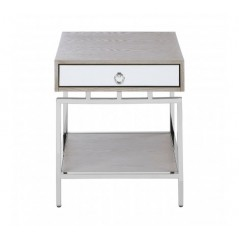 Gonzales Bedside Table Silver