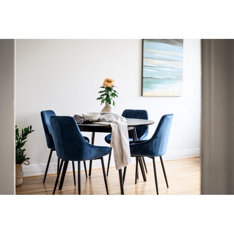 RO Sier Dining Chair Dark Blue Velvet