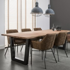 ZI DINING TABLE LOG BLACK STAINLESS STEEL