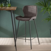 ZI ARIA BAR STOOL VELVET ROUND TUBE
