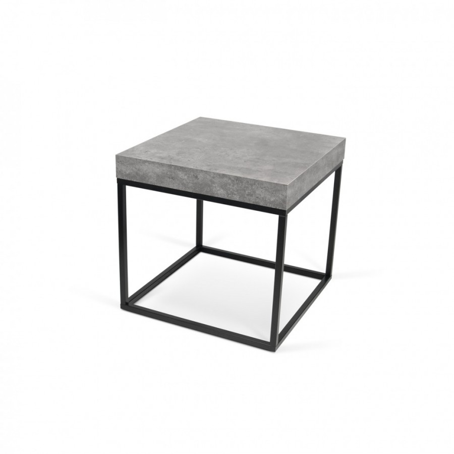 White High Gloss Side End Square 2 Seats Of Coffee Table: Petra Concrete Side Table