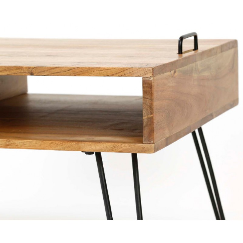 ZI Coffee Table Solid Wood Industrial Quadro