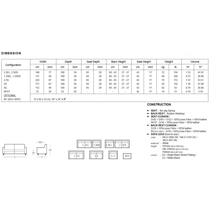 DM MONDAY Sofa A0214  2.5S