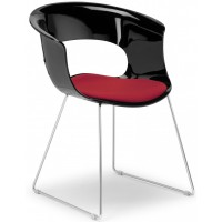 SC Chair Miss B antishock sled Black with Cushion Woven Red