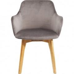 Chair with Armrest Lady Velvet Grey