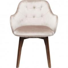 Chair with Armrest Lady-Stitch Velvet Grey