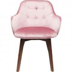 Chair with Armrest Lady Velvet Mauve