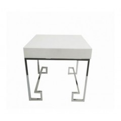 Allure End Table Cubic Square Silver