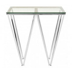 Allure End Table Double Triangle Silver