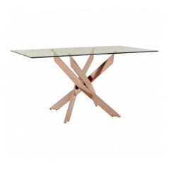Allure Dining Table Intersected Rectangular Rose Gold