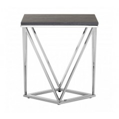 Allure End Table Geometry V Rectangular Silver