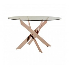 Allure Dining Table Intersected Round Rose Gold