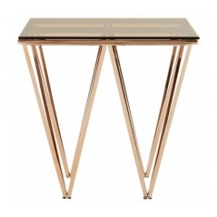 Allure End Table Double Triangle Gold