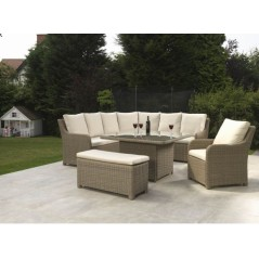 DE Atnalta Outdoor Set with Glass Top Table + Cushion