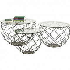 Coffee Table Wire Grid Black (3/Set)