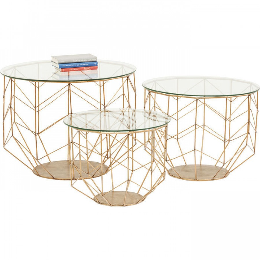 Coffee table wire grid brass 3 set