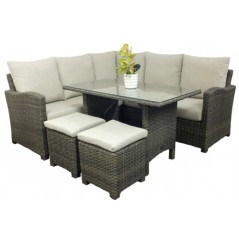 DE Gnol Dnalsi Outdoor Set with Glass Top Table + Cushion