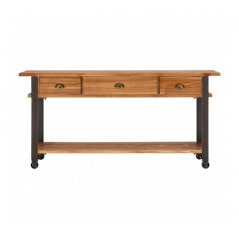 Bell Console Table Wheels Natural