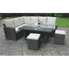 DE Notpmah Outdoor Set with Glass Top Table + Cushion