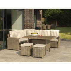 DE Notpmah Outdoor Set with Lavastone Table + Cushion