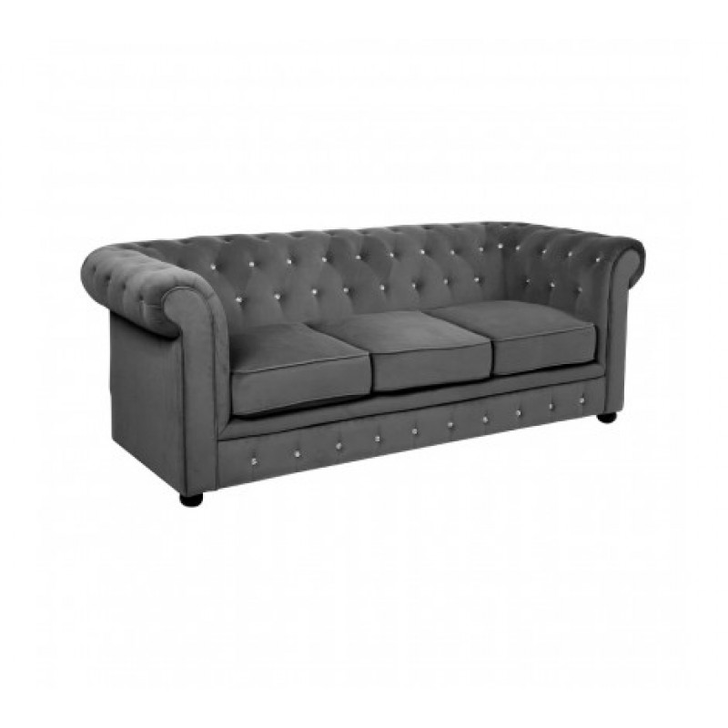 Evans 3 Seat Chesterfield Sofa Grey