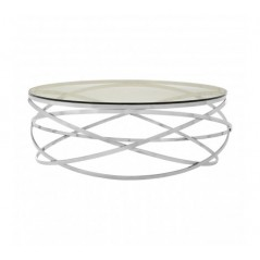 Allure Coffee Table Hoops Round Silver