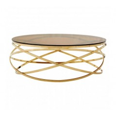 Allure Coffee Table Hoops Round Gold