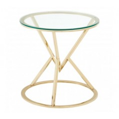 Allure End Table Geometry Round Gold