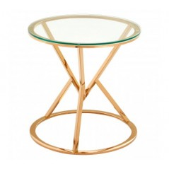 Allure End Table Geometry Round Rose Gold