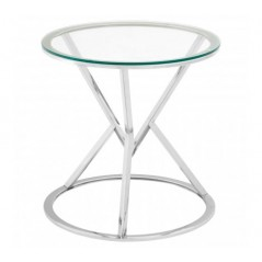 Allure End Table Geometry Round Silver