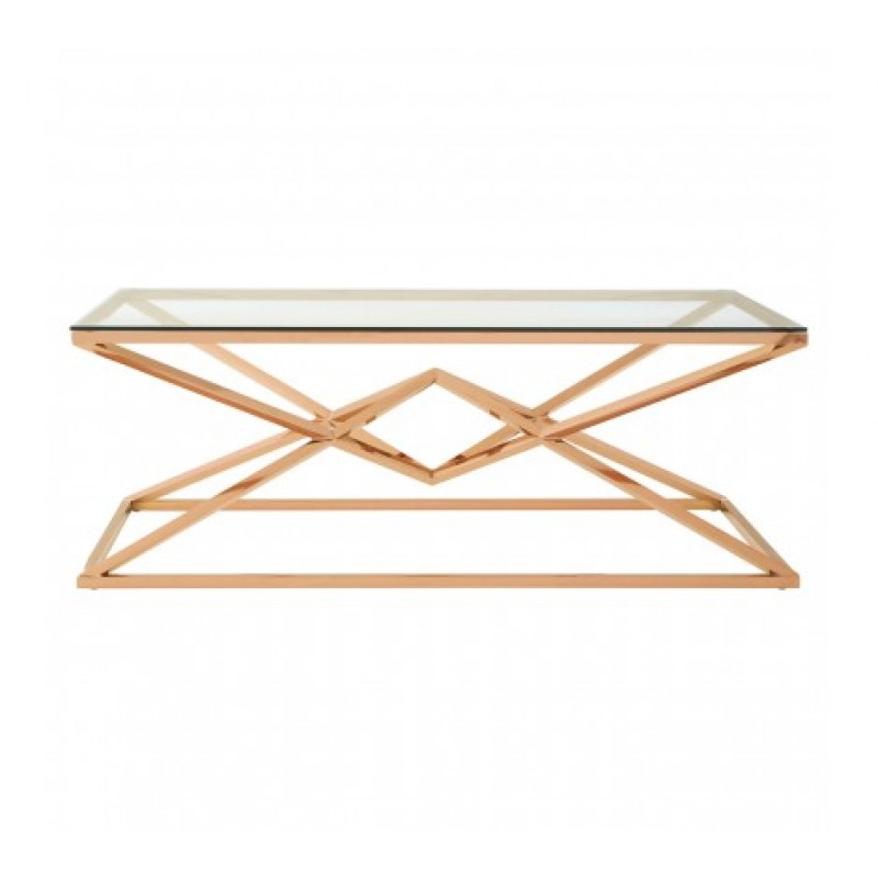 Allure Coffee Table Geometry Rectangular Rose Gold