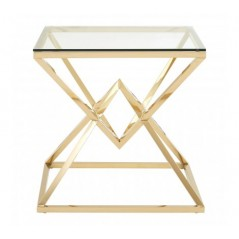 Allure End Table Geometry Square Gold