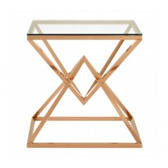 Allure End Table Geometry Square Rose Gold