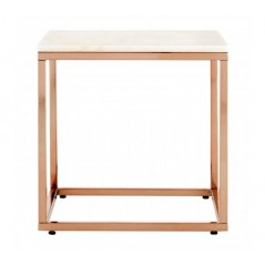 Allure End Table Marble Square Rose Gold