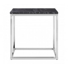 Allure End Table Marble Square Silver