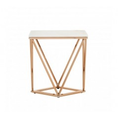 Allure End Table Geometry V Rectangular Rose Gold