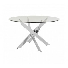 Allure Dining Table Intersected Round Silver