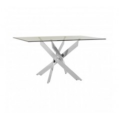 Allure Dining Table Intersected Rectangular Silver