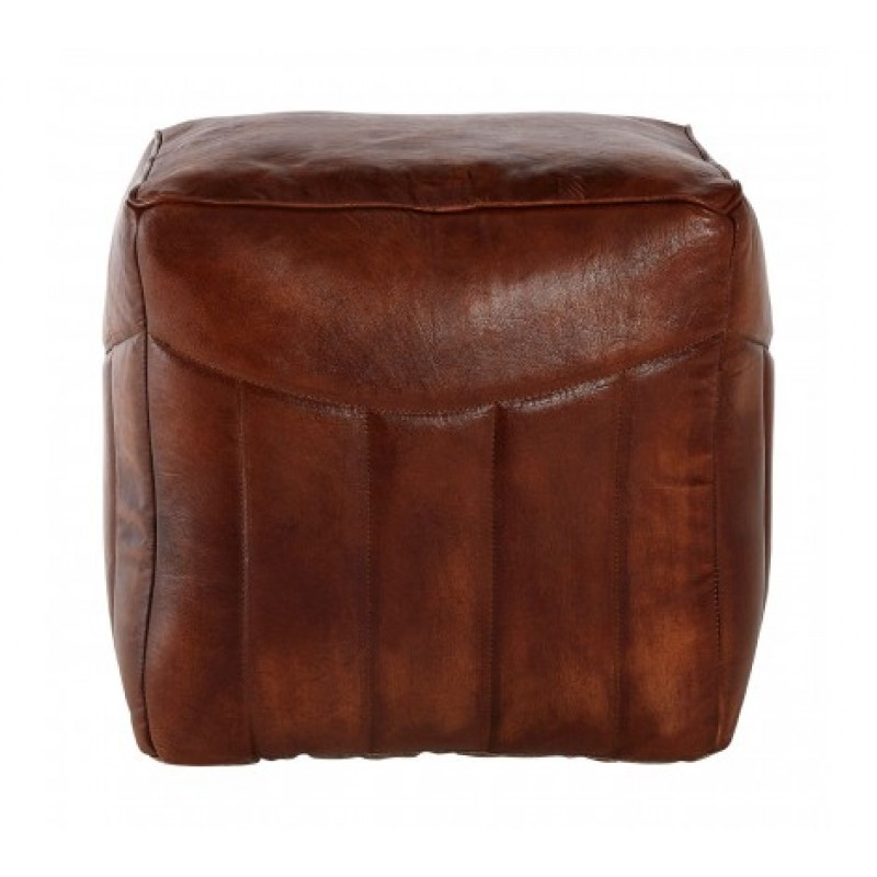 Barnes Pouffe Square Dark Brown
