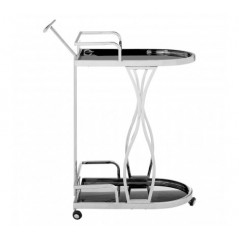 Novo Kitchen Trolley 2 Tier Wavy Silver