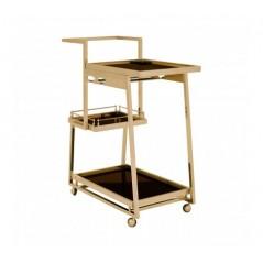 Novo Kitchen Trolley 3 Tier Rectangular Gold
